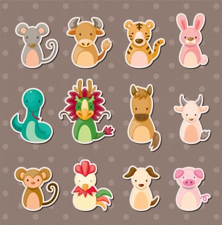 cerdo caricatura: 12 chinos pegatinas de animales del zodiaco Vectores