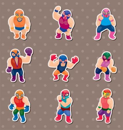 sportsperson: cartoon wrestler stickers Illustration
