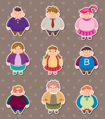 Cartoon Fat people stickers Vector