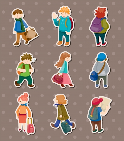 travel people stickers Vector
