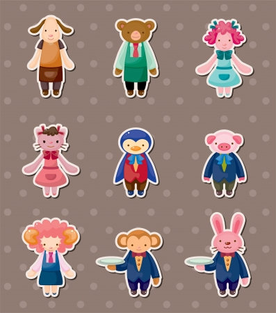 cartoon animal waiter and waitress stickers Vector