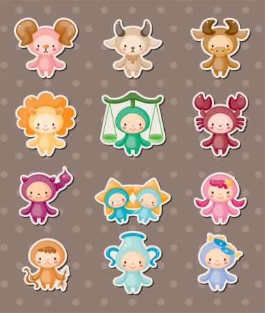 pisces star: cute zodiac stickers Illustration