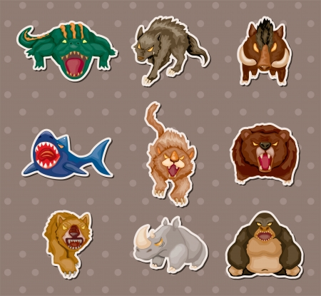 angry animal stickers Vector