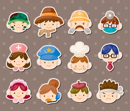 people job face stickers Vector