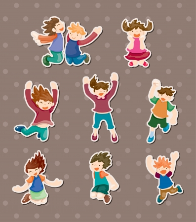 child jump stickers Stock Vector - 13985483