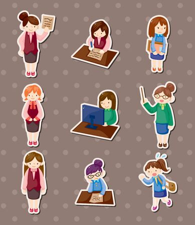 office woman stickers Stock Vector - 13985572