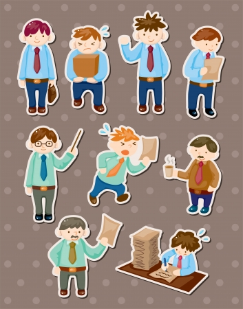 work head: office man stickers Illustration
