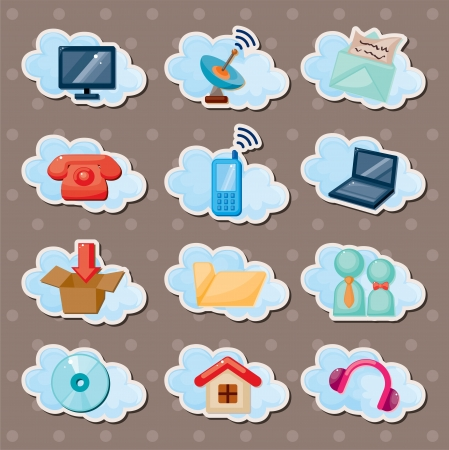 cloud web stickers Vector
