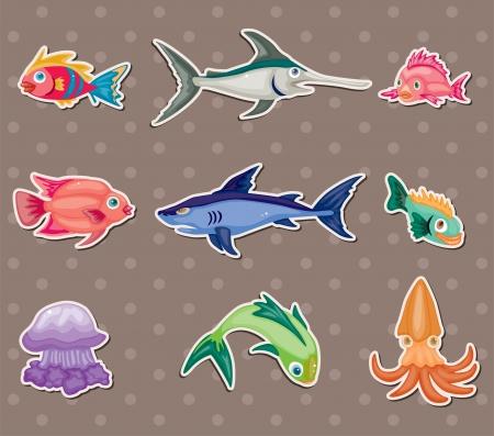 pez espada: pegatinas de peces Vectores