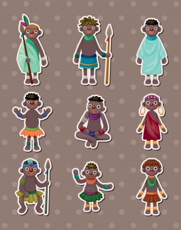 african warriors: African stickers Illustration