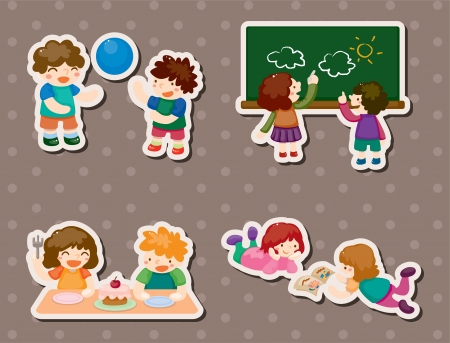 sticker vector: kid playing stickers