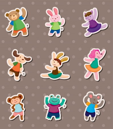 animal dance stickers Vector