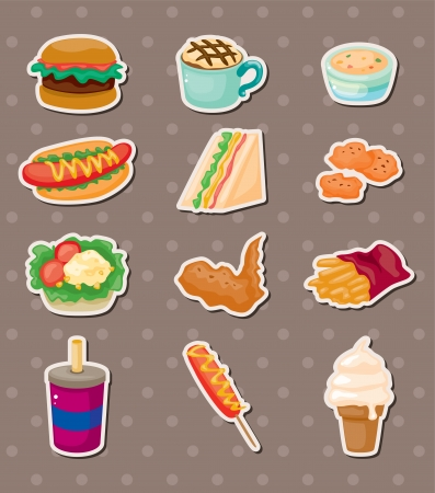 fried noodles: fast food stickers Illustration