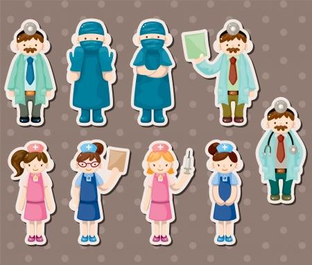 medico caricatura: de dibujos animados m�dico y la enfermera pegatinas