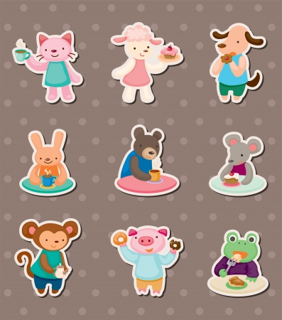 animal tea time stickers Vector