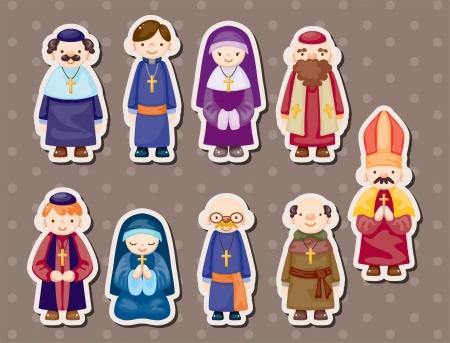 predicador: pegatinas de dibujos animados sacerdote Vectores