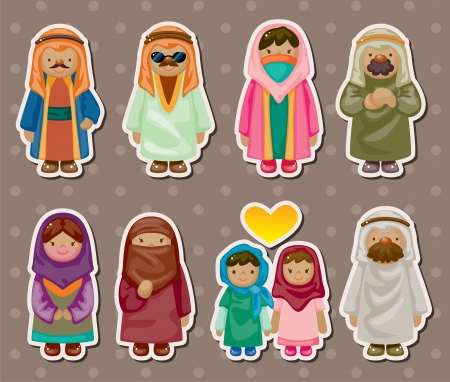 cartoon Arabian people stickers Illustration