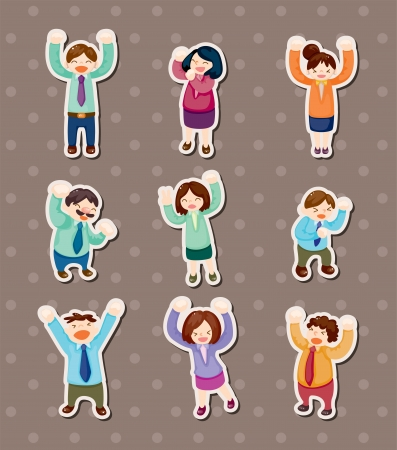 happy office worker stickers Stock Vector - 14091864
