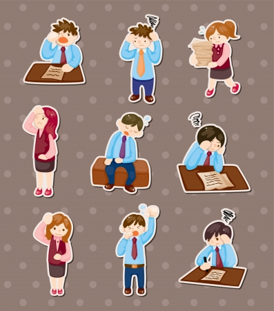 scared man: Tired businessman stickers Illustration