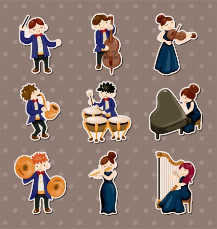 orchestra music player stickers Vector