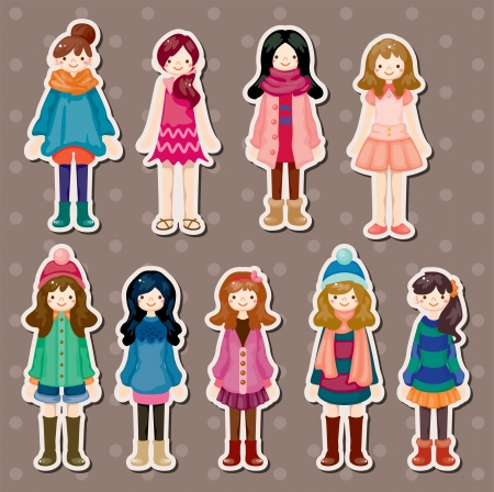 beauty girl stickers Vector