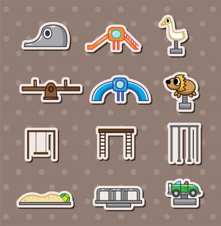 cartoon park playground stickers Vector