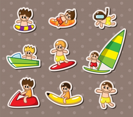 woman floating: water sport stickers