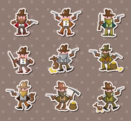 cowboy stickers Vector