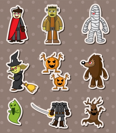 Halloween monster sitckers Vector