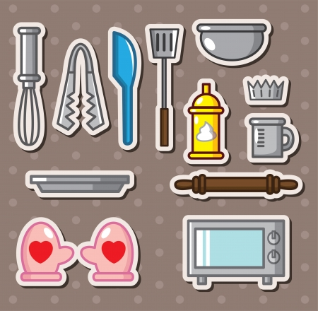 baking tools stickers Vector
