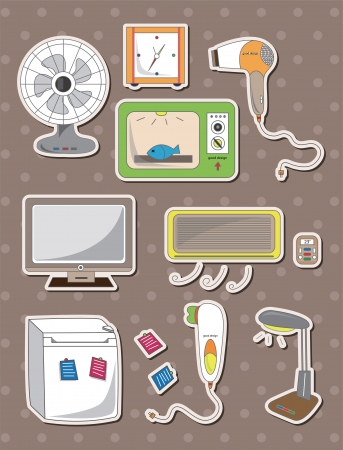 cartoon home appliance stickers Vector