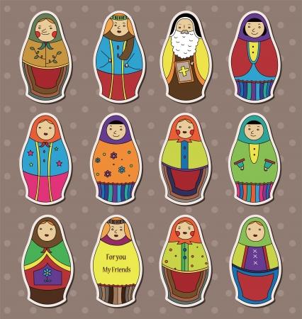 mu�ecas rusas: Pegatinas mu�ecas rusas Vectores