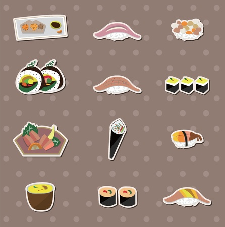 sushi plate: Japaness food stickers Illustration