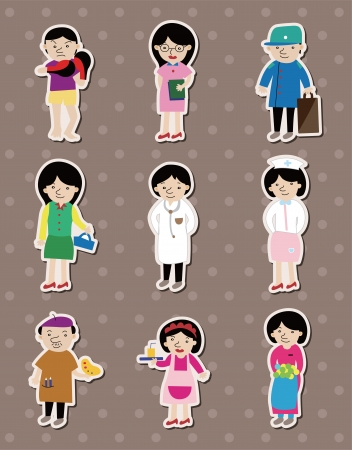 people job stickers Stock Vector - 14366225