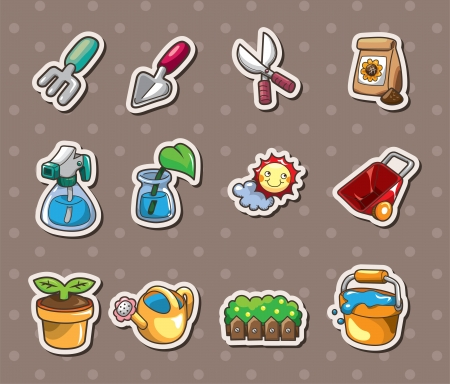 Gardening stickers Vector