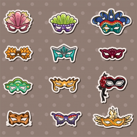 party mask stickers Vector