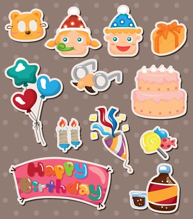 birthday stickers Stock Vector - 14596406