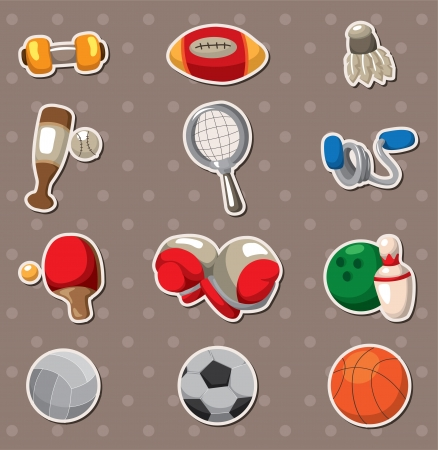 skipping: Sport objects stickers Illustration