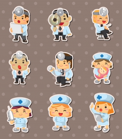 doctor and nurse stickers Vector