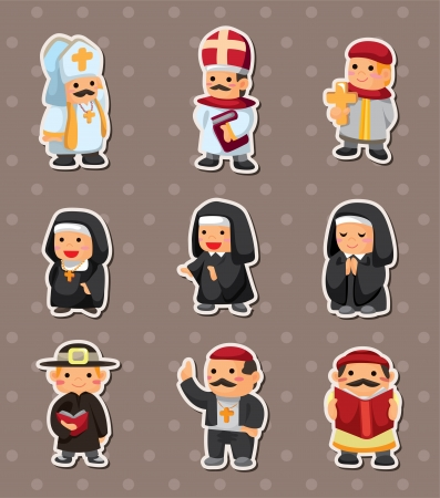 cartoon priest stickers Vector