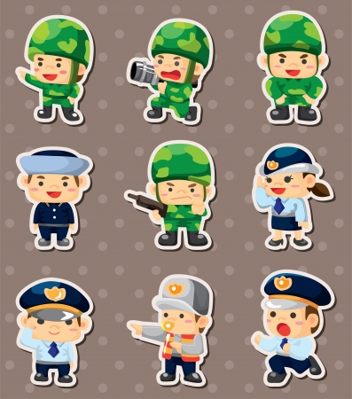 cartoon police and soldier stickers Vector