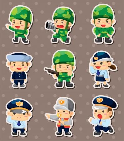cartoon politie en militair stickers Vector Illustratie