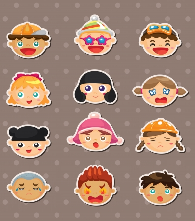 kid face stickers Vector