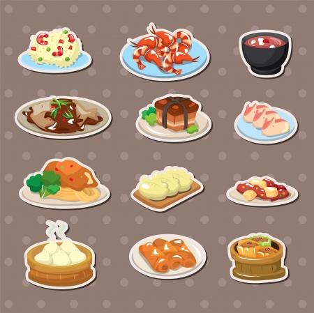 клецка: Китайский наклейки еды Иллюстрация