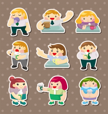 cartoon office worker tea time stickers Vector
