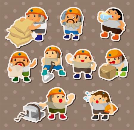 cartoon worker stickers Stock Vector - 14678867