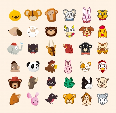 guinea pig: set of cute animal face icon