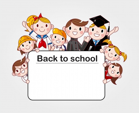 group of cheerful student holding a banner ad Vector