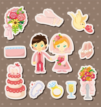 cartoon wedding stickers Vector