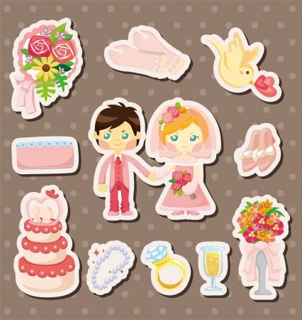 cartoon wedding stickers Stock Vector - 14723869